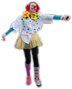 Paula disfrazada de payasa